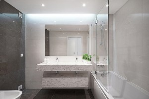 A modern bathroom interior. Remodeling project should be given to professional contractors