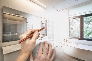 Artist impression of bathroom remodeling blueprint in Northern VA