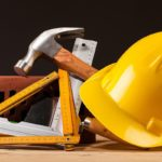 Bathroom remodeling contractor's safety gear and tools