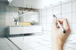 Blue print of bathroom interior. Avoid a DIY bathroom remodel, hire remodeling contractor