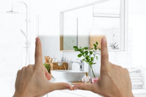 bathroom person figuring out remodeling