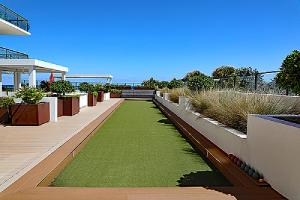 An outdoor DIY bocce ball court