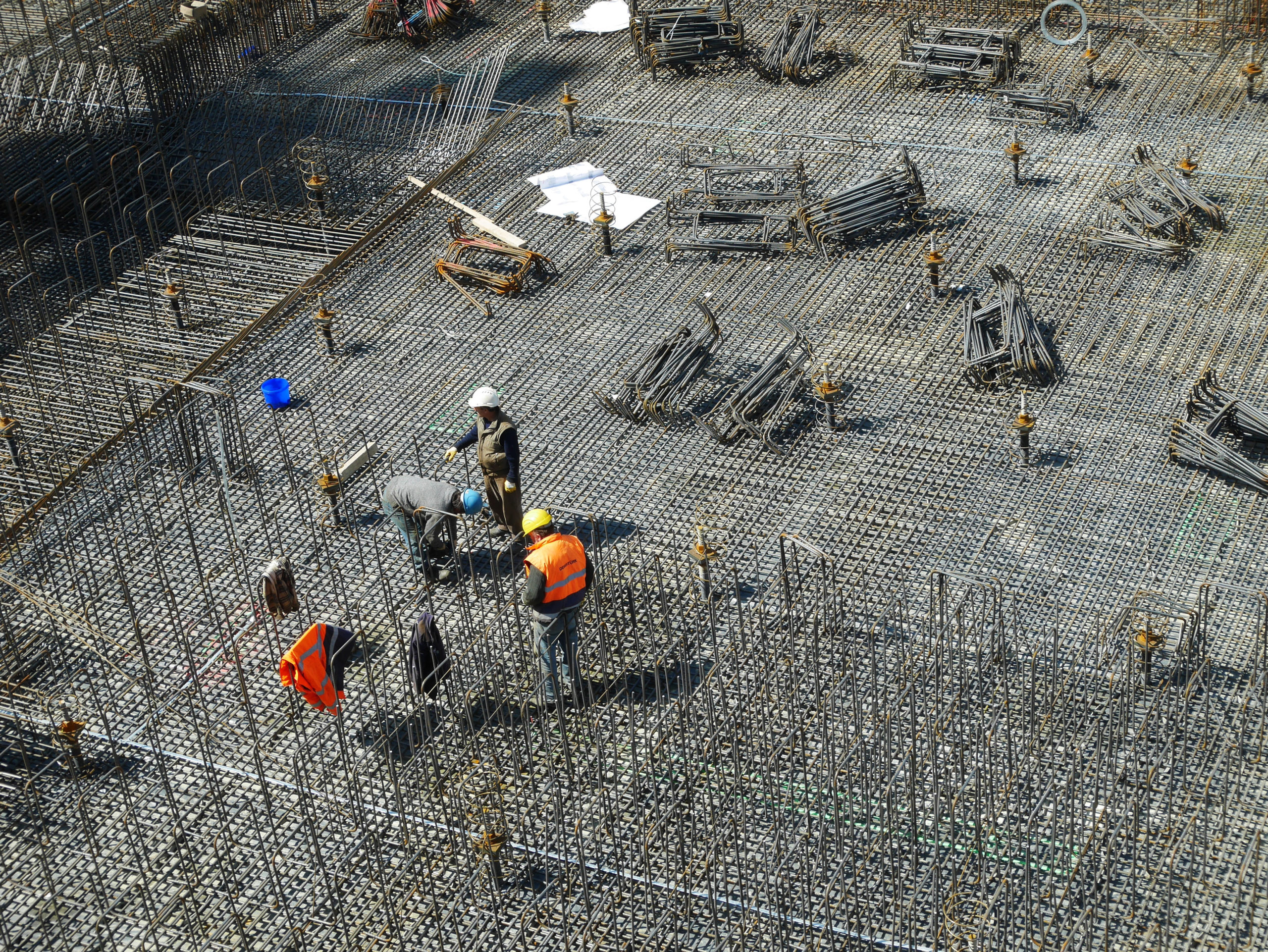 steel rebar placement for new structural concrete slab and flatwork