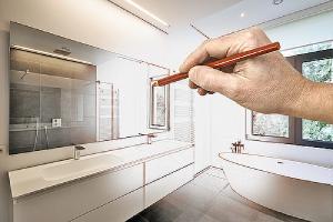 Hand drawing bathroom interior depicting bathroom remodeling