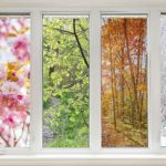 Bathroom window with view of four seasons. When is the best time of year for a bathroom remodel