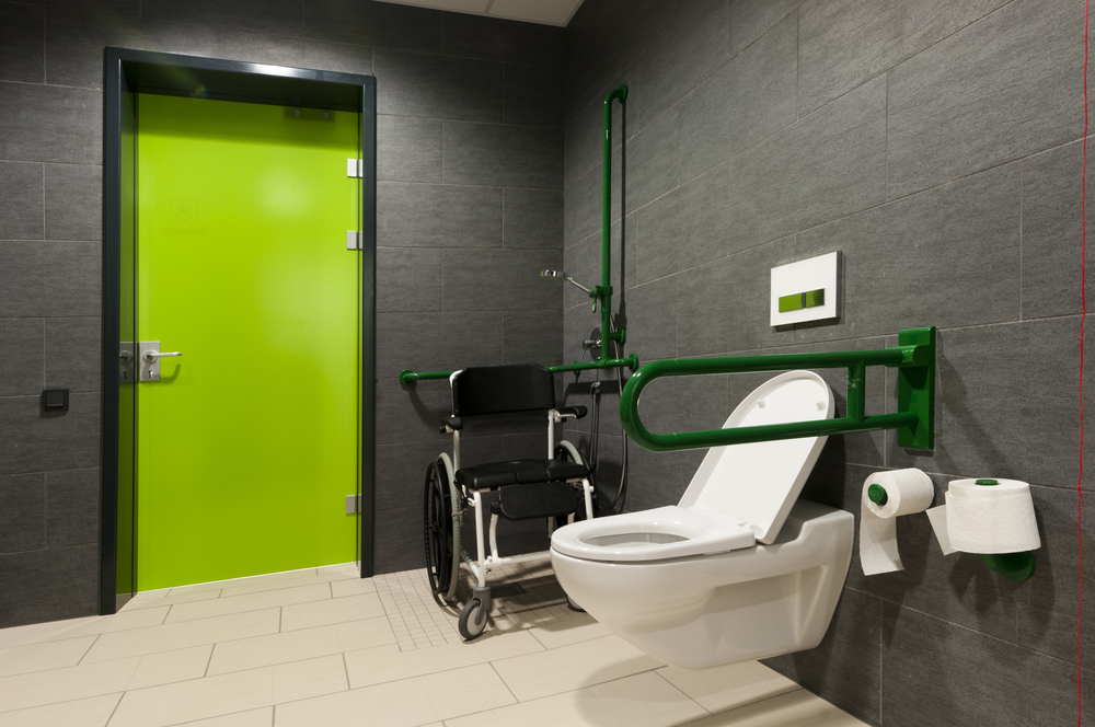 a toilet for disabled people with green bars, wheelchair and door