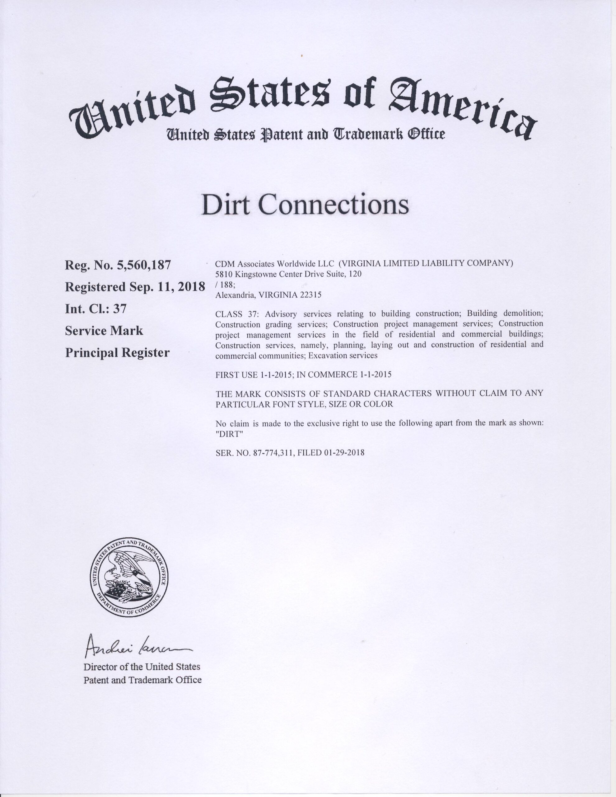 dirt connections trademark approval