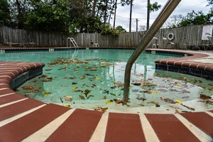 old pool cevered with leaves