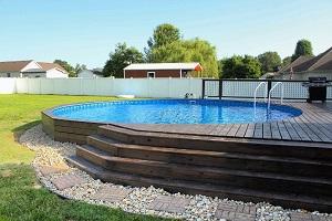 beautiful semi inground pool