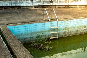 old swimming pool was abandoned
