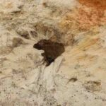 small sinkhole on the sand